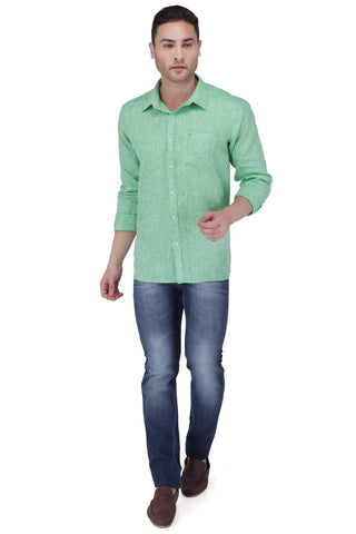 Image of P Green Linen Shirt