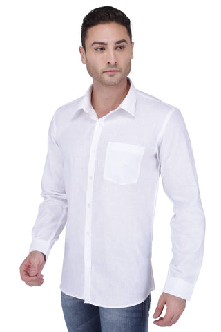 Image of White Linen Cotton Blend Shirt
