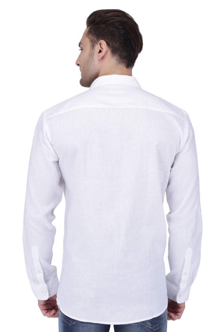 White Linen Cotton Blend Shirt