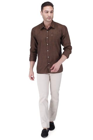 Image of Brown Linen Shirt