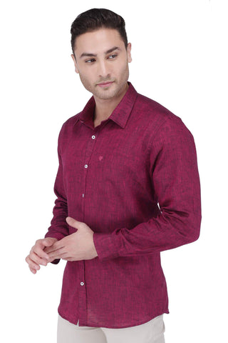 Image of Maroon Linen Shirt