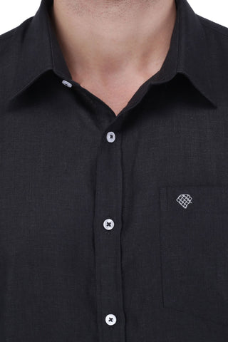 Image of Black Linen Shirt