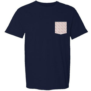 Load image into Gallery viewer, Pocket Tee- Navy with Lobster Pocket