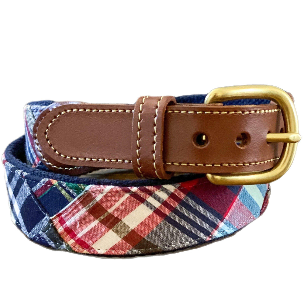 Load image into Gallery viewer, Madras Leather Tab Belt- Menemsha - Just Madras