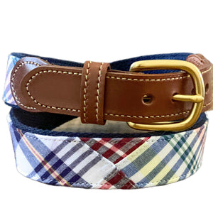 Madras Leather Tab Belt- Chatham - Just Madras