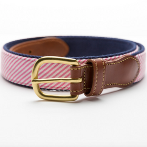 Load image into Gallery viewer, Seersucker Leather Tab Belt- Pink - Just Madras