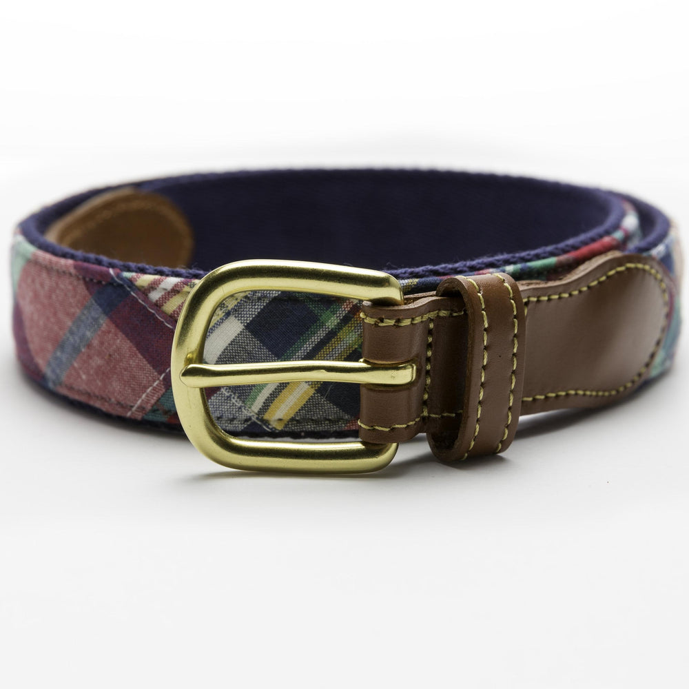 Load image into Gallery viewer, Patchwork Madras Leather Tab Belt- Block Island - Just Madras