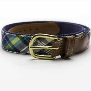 Load image into Gallery viewer, Patchwork Madras Leather Tab Belt- Tod's Point - Just Madras