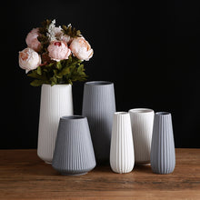Load image into Gallery viewer, Pinstripe Ceramic Vase in White