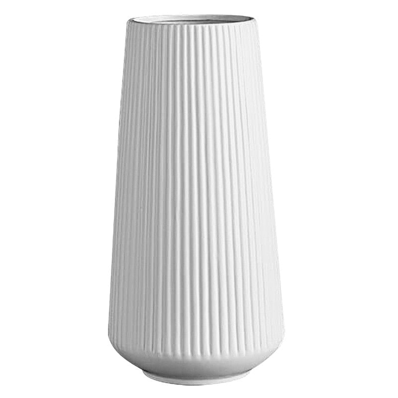 Pinstripe Ceramic Vase in White