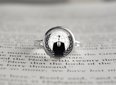 Anonymous internet meme silver ring