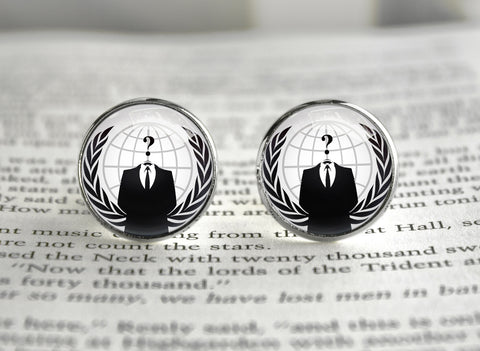 Anonymous internet meme cufflinks
