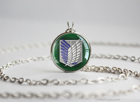 Attack on Titan Shingeki no Kyojin necklace SNK Survey core / Scouting legion Green
