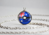 Australia Pokemon Flag pokeball necklace