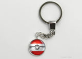 Austrian Flag themed Pokeball Key Chains