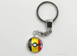 Belgian Flag themed Pokeball Key Chains