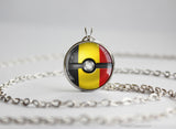 Belgium Pokemon Flag pokeball necklace