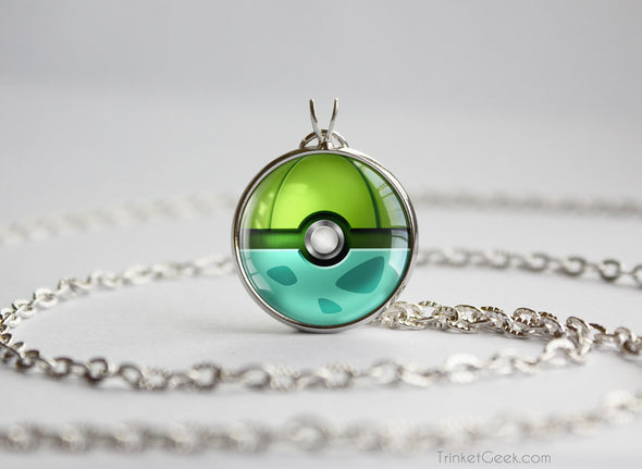Pokemon Bulbasaur Themed Pokeball Pendant Necklace