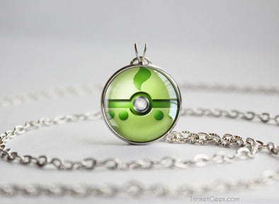 Chikorita Pokemon Johto Starter Themed Pokeball pendant