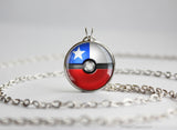 Chile Pokemon Flag pokeball necklace