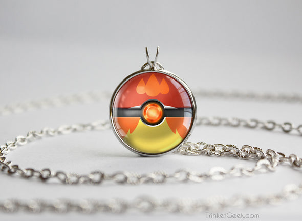 Delphox Pokemon Kalos Starter Themed Pokeball pendant