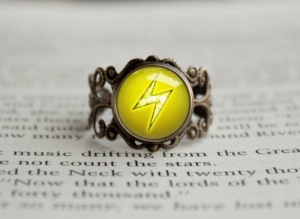 Electric Type Pokemon Symbol antique bronze ring