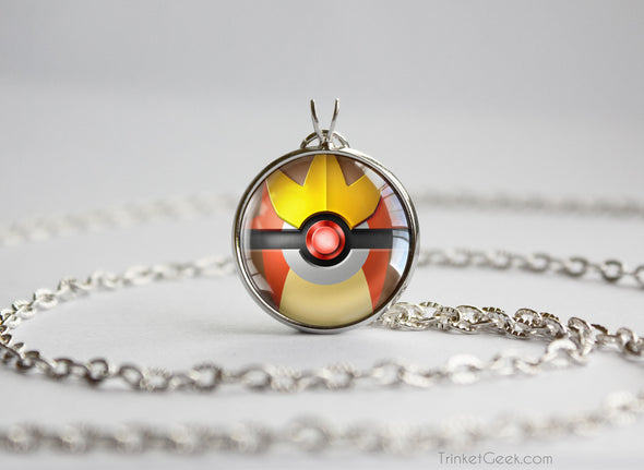 Pokemon Gold and Silver Entei Pokeball Necklace