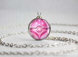 Fairy Type Pokemon Necklace Themed Pokeball pendant