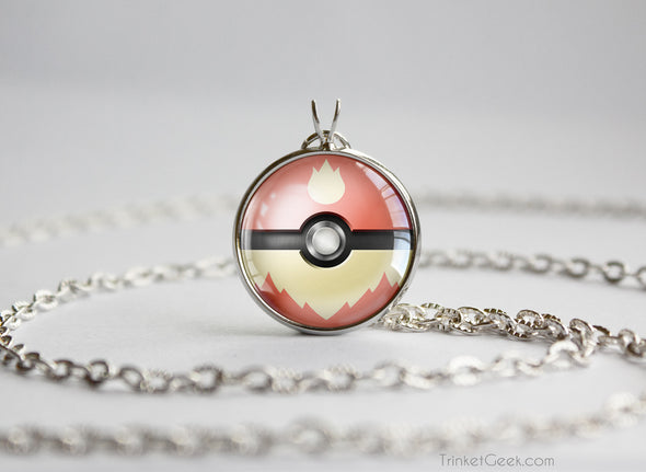Pokemon Flareon Eeveelution Pokeball Pendant Necklace