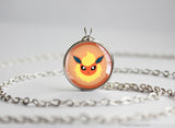 Flareon Pokemon Eeveelution Chibi Portrait necklace