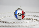 France Pokemon Flag pokeball necklace