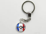 French Flag themed Pokeball Key Chains