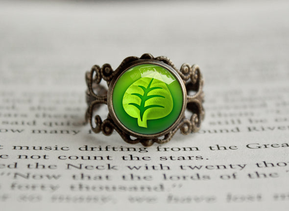 Grass Type Pokemon Symbol antique bronze ring
