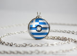 Greece Pokemon Flag pokeball necklace