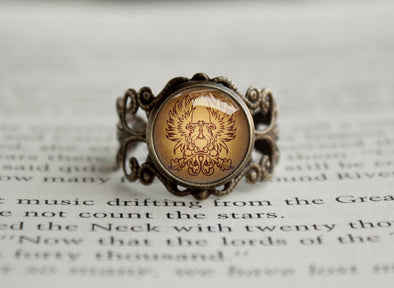 Grey Warden Commander Sigil Griffon Dragon Filigree ring Age Vintage bronze