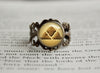 Ground Type Pokemon Symbol antique bronze ring