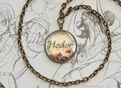 "Game of thrones necklace ""Hodor"" Hodor quotation bronze"
