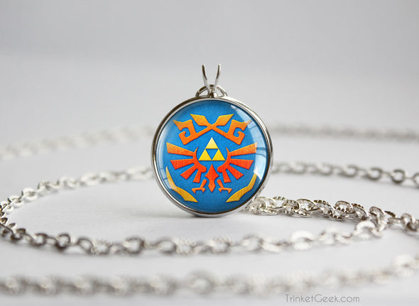 Zelda Hylian Shield Skyward Silver Pendant
