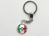 Italian Flag themed Pokeball Key Chains