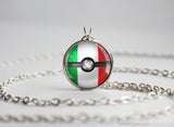 Italy Pokemon Flag pokeball necklace