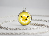 Jolteon Pokemon Eeveelution Chibi Portrait necklace