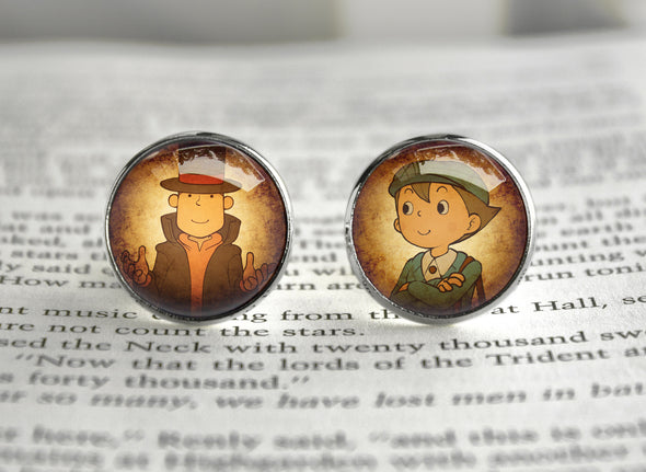 Layton cufflinks Professor Luke and Emmy