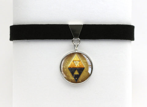 Zelda Choker Necklace Triforce Between Shadow