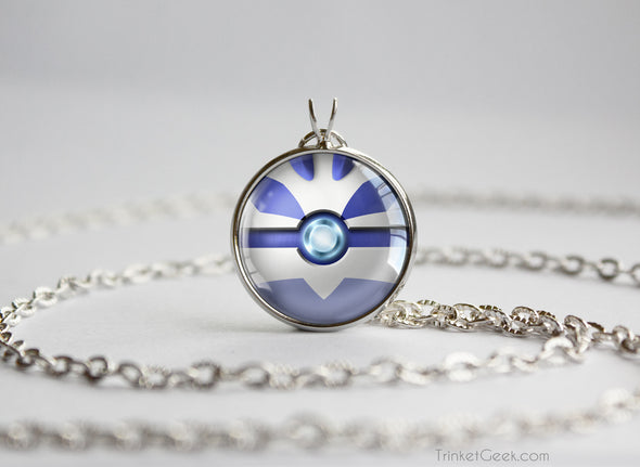 Pokemon Gold and Silver Lugia Pokeball Necklace
