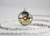 Pokemon Lunatone Themed Pokeball Pendant