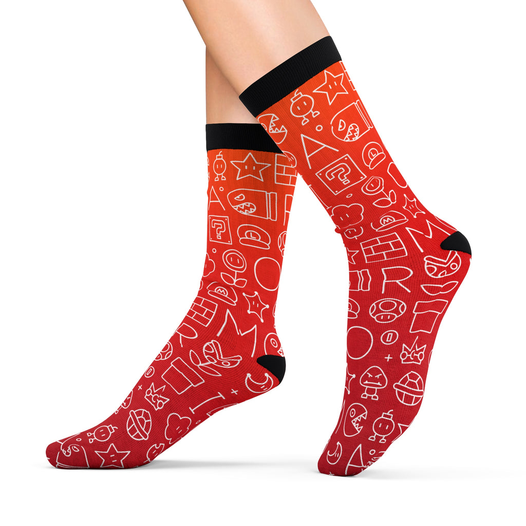 Mario pattern socks