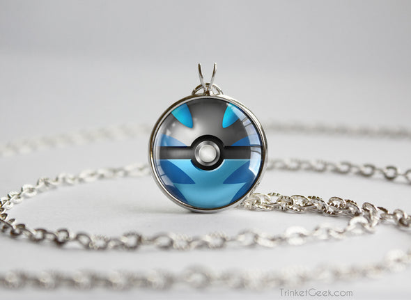 Pokemon Mega Charizard X Themed Pokeball Pendant Necklace