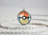 Pokemon Mega Charizard Y Themed Pokeball Pendant Necklace
