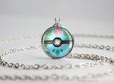 Pokemon Mega Venasaur Themed Pokeball Pendant Necklace