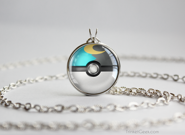 Pokemon Pokeball Moon Ball Necklace Pendant